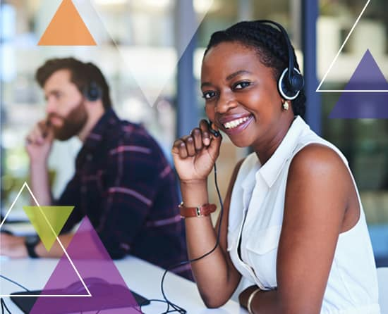 A woman smiles as she answers a phone in a call center. What does MTM Transit do? MTM Transit services solve transit challenges, including transit quality assurance services.