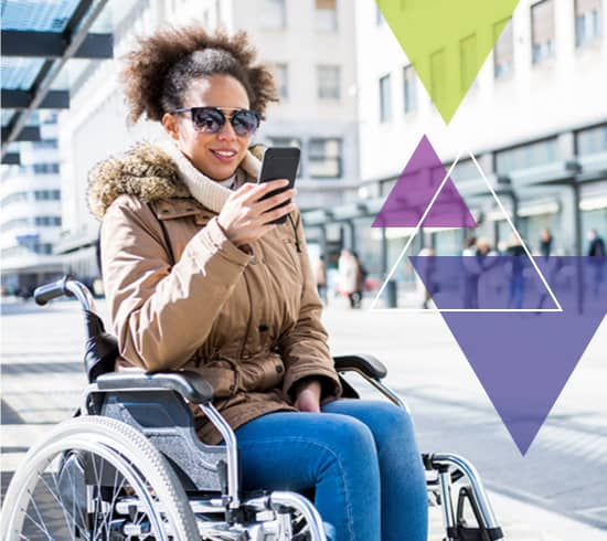 A young woman who utilizes a wheelchair looks at a phone. What does MTM Transit do? MTM Transit services solve transit challenges, including transit technology.